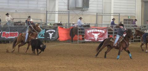 Taylor Rossenbach, header in this team roping photo, is the new coach of NCTA Aggie Rodeo. (Courtesy Photo)