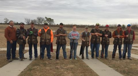 "NCTA Aggie Shooting Sports Team members competed in the fall finale Nov. 5-6 in Grand Island led by Coach Alan Taylor (far left).  They will host a ""Bacon Shoot"" at Curtis on Dec. 3. (Courtesy photo)"