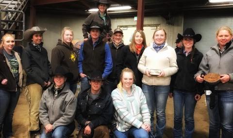 NCTA Ranch Horse Team: l-r, Front, kneeling, Carly Wade, Damian Wellman and Huntra Christensen. Standing, Madisyn Cutler,  Nicole Ackland, Lennae Eisenmenger, Garison Fisher, Courtney Leach, Shae  DeNaeyer, Sydney Boden, Rebekah Miller, and Kaitlyn  Thesenvitz. Horseback, Jo Hergenreder, Aggie coach, aboard Bubba. (Courtesy photo)