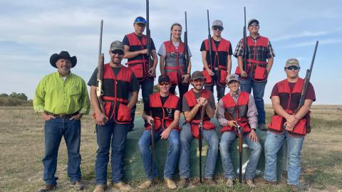 The Aggie Shotgun Sports Team will host a Sporting Clay Shoot on Labor Day in Curtis. The team has doubled to 20 members since this photo was taken in 2020 with Coach Alan Taylor, at left, (NCTA News file photo)