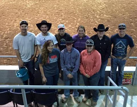 NCTA Ranch Horse team at national contest Sweetwater, Texas are, back row, from left, AJ Pestello, Breckenridge, Colo.; Rio McGinley, Oshkosh; Morgan Schrank, Sioux Falls, SD; Mariah Stamper, Falls City; Courtney Leach, Lewellen; Drake Johnson, Pender.  Front row, Hanna Christenson, Ord; Clayton G'Schwind, Callaway; and Makayla Forsythe, Garland. (NCTA courtesy photo)