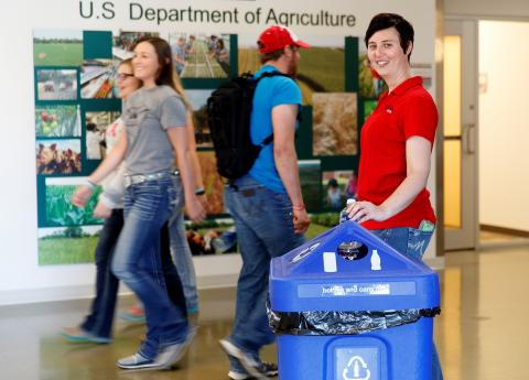Tee Bush, horticulture and math professor, at the Nebraska College of Technical Agriculture, is coordinating a new recycling initiative at the college's campus in Curtis. (Craig Chandler photo)