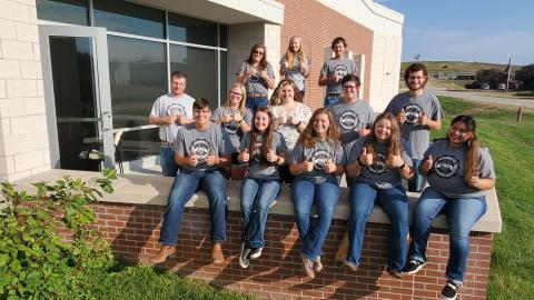 Resident assistants at the Nebraska College of Technical Agriculture are student staff at three residence halls. This group welcomed Aggies last year. In person classes begin August 23 in Curtis. (M. Crawford / NCTA News)