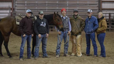NCTA graduate Quentin Anderson of Pierce (center with horse) and his rodeo teammates, from left, Bryce Tobiassen, Hildreth; Ryan Smith, Ragan; Anderson, Wyatt Colman, O'Neill; Nathan Burnett, Shelton; and Caprice Christianson, Greenbush, Minnesota. Aggie Rodeo is an intercollegiate traveling team.  (Photo by Crawford/NCTA News)