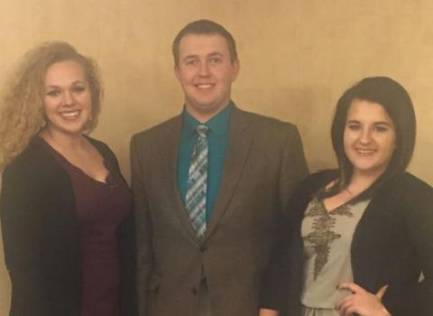 Nebraska College of Technical Agriculture livestock judging team members, from left, are Eleanor Aufdenkamp, North Platte; Braden Wilke, Columbus; and Emilye Vales, DeWitt. Vales placed 11th and Aufdenkamp tied for 12th in the National Western Livestock Show and Collegiate Judging contest. (Hinrichs/NCTA Courtesy Photo)