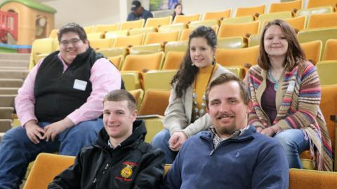 Aggies representing NCTA Livestock Judging are, from left, top row, Jose De La Cruz, Columbus; Lauren Nichols, Scottsbluff; Bailey Johnson, Hastings, and front row, Avery Bermel, Randolph, and assistant coach Grant Romshek of Shelby. (Photo by Linda Teahon)