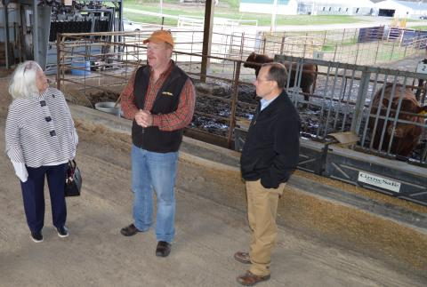 University of Nebraska Regent Barbara Weitz visits with Dr. Rick Funston, beef scientist, and Dr. Kelly Bruns, newly-named interim dean at NCTA in Curtis, at a May 3 tour of the West Central Research and Extension Center. (NCTA Photo)