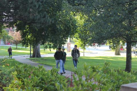 Students approach Agriculture Hall at NCTA campus