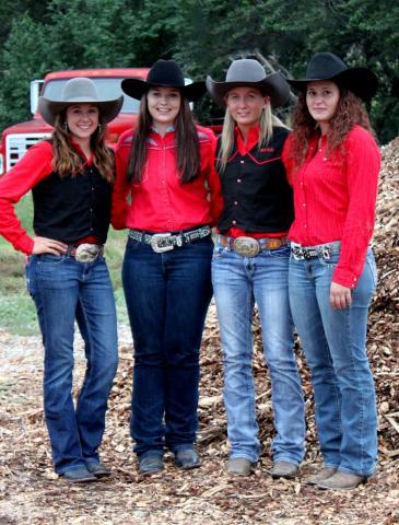 NCTA Aggie Women's Rodeo Team is in third place of the Great Plains intercollegiate region. Members are Tara Spatz, Trotwood, Ohio; Tryssta Duval, Max; Lexus Kelsch, McLaughlin, S.D., and Erica Mowery, Middleburg, Penn.  (Tori Rossenbach photo)