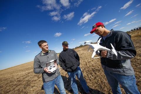 Single rate tuition begins Fall, 2017 for all NCTA students. Here, agronomy students are using an Unmanned Aerial System in crop management courses. (Craig Chandler / University Communication)
