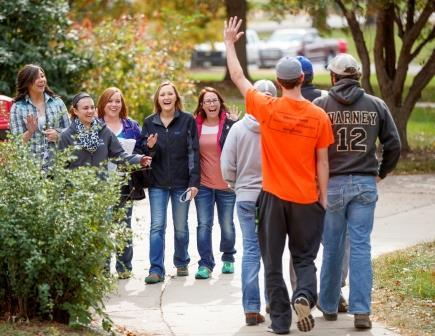 NCTA students greet visitors to campus during tours and Discovery Days. (Chandler / University Communication)
